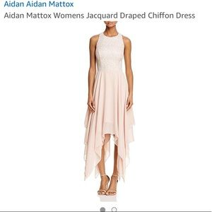Aidan Aiden Mattox jacquard draped chiffon dress